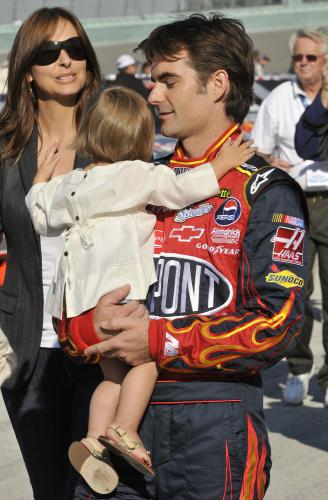 jeff gordon wife ingrid. Jeff Gordon holds his daughter