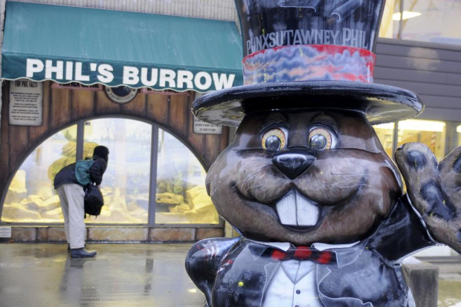 Visitors to Punxsutawney, PA Look for Phil on Groundhog Day