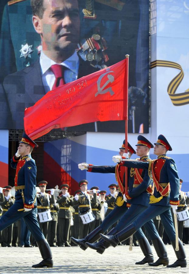 The military Victory day parade on Red Square in Moscow