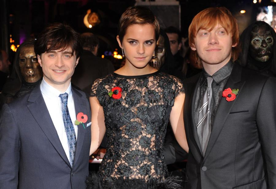 Daniel Radcliffe, Emma Watson and Rupert Grint attend the World premiere of