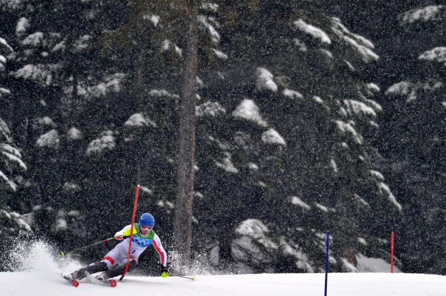 Austria's Benjamin Raich competes in the Men's' Slalom in Whistler