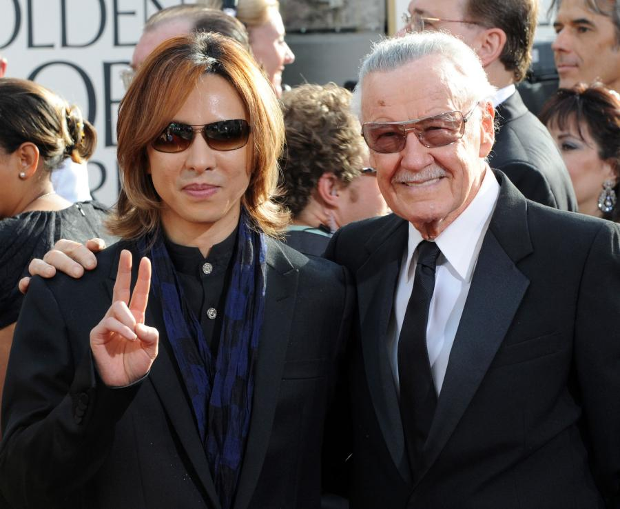 Yoshiki Hayashi and Stan Lee arrive at the 68th annual Golden Globe Awards