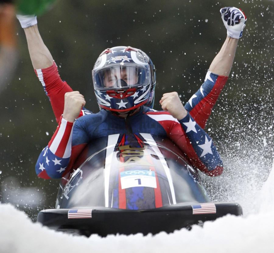USA four-man bobsleigh team wins gold at the 2010 Vancouver Winter Olympics