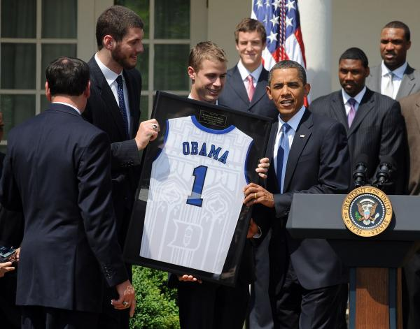 Obama hosts Duke Blue Devils