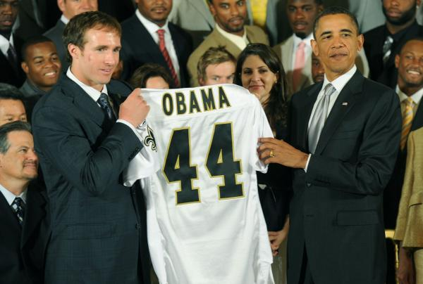 President Obama welcomes the New Orleans Saints in Washington