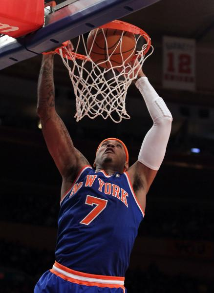 carmelo anthony knicks jersey 7. Carmelo Anthony plays his