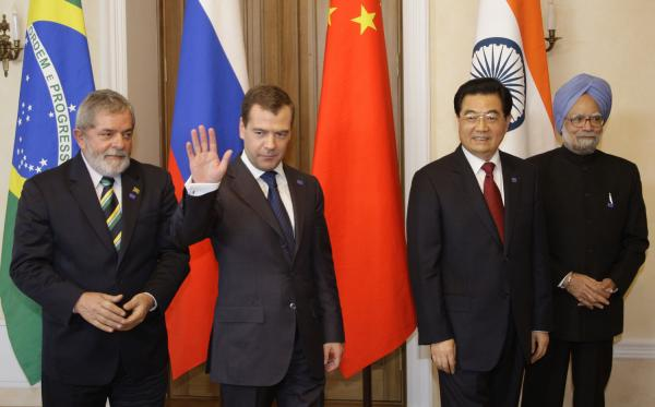 Leaders of Brazil, Russia,  India and China attend the BRIC summit