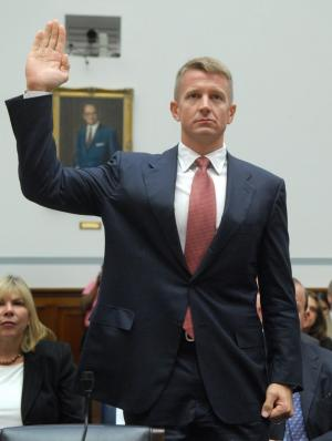 Chairman of Blackwater USA Erik Prince is sworn in prior to testifying before a House Oversight and Government Reform Committee hearing on private security contracting in Iraq in Washington on October 2, 2007. (UPI Photo/Kevin Dietsch)