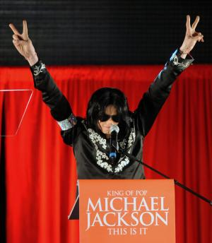 American singer Michael Jackson announces his summer concert dates at a press conference at O2 Arena in London on March 5, 2009.  (UPI Photo/Rune Hellestad)