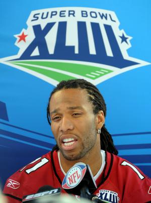 Arizona Cardinals wide receiver Larry Fitzgerald, shown during Media Day at the Super Bowl Jan. 27, 2009. (UPI Photo/Roger L. Wollenberg)