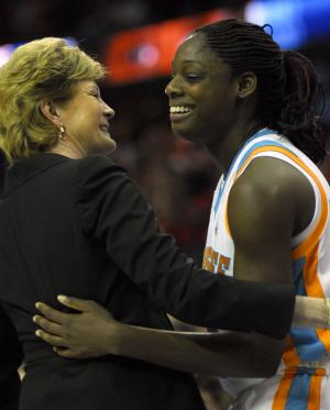 Tennessee Lady Vols Head Coach Pat Summitt and Nicky Anosike (R) exchange a brief hug and congratulations after winning the Women's NCAA Final Four championship at the Quicken Loans Arena in Cleveland, Ohio on April 3, 2007.  The Tennessee Lady Vols defeated the Rutgers Scarlet Knights 59-46.  (UPI Photo/ Stephanie Krell)