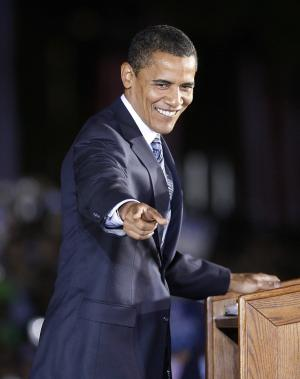 Democratic Presidential nominee Sen. Barack Obama (D-IL) speaks at a rally on October 31, 2008 in Highland, Indiana. Thousands attended the evening rally held outdoors in a city park as the candidates make their final push leading up to the November 4th election. (UPI Photo/Brian Kersey)