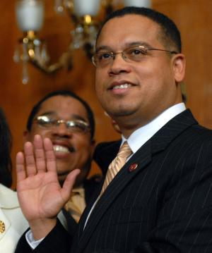 Rep. Keith Ellison, D-Minn., the only Muslim member of Congress, was one of the five members of congress arrested at the Darfur protest, April 27, 2009 (UPI Photo/Roger L. Wollenberg)