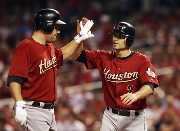 houston astros stadium hill. Houston Astros Chris Burke 2 congratulates teammate Lance Berkman