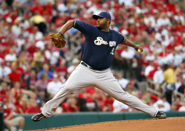 Milwaukee Brewers starting pitcher C.C. Sabathia  delivers a pitch to the St. Louis Cardinals in the third inning at Busch Stadium in St. Louis on July 23, 2008. Milwaukee won the game 3-0. (UPI Photo/Bill Greenblatt)