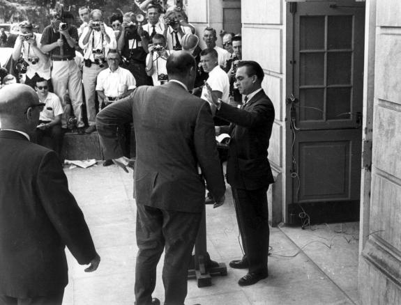 George Wallace blocks Black students from entering a school.
