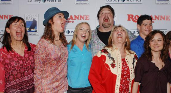 "cast members in the television comedy series ""Roseanne,"" ham it up on"