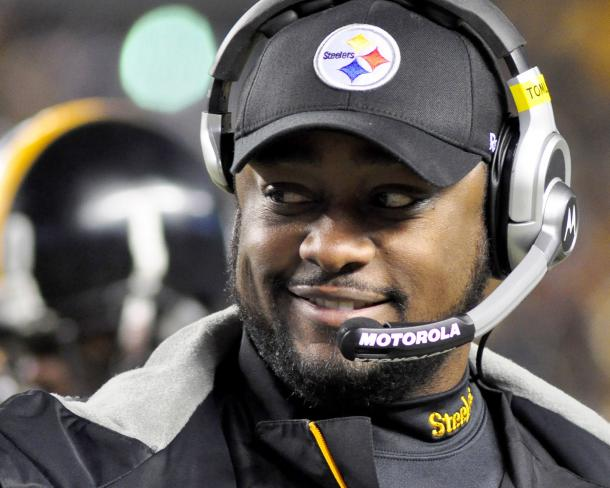 Pittsburgh Steelers Coach Tomlin Smiles During Challenge Review in