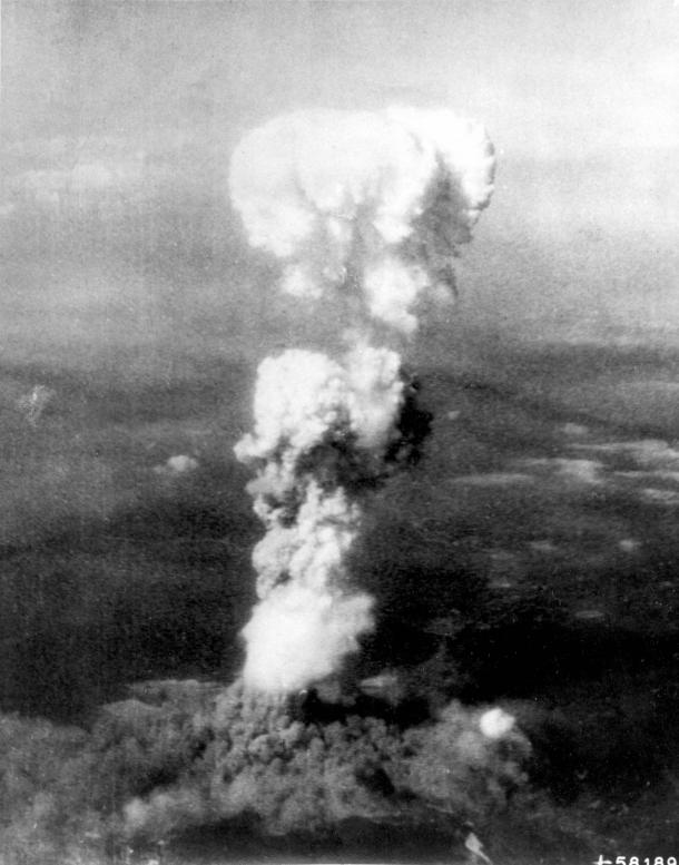THE MUSHROOM CLOUD OVER HIROSHIMA FOLLOWING DROPPING OF ATOMIC BOMB