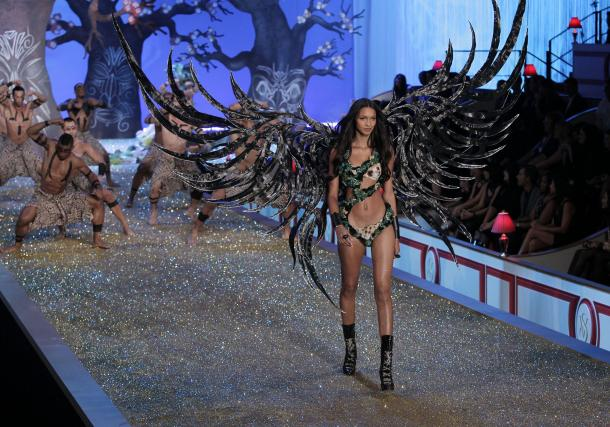 victoria secret models runway. A model walks the runway at